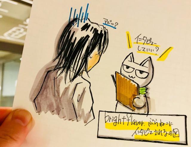 写真:ぶらねこにインタビューされている管理人の様子をイラストで描かれている